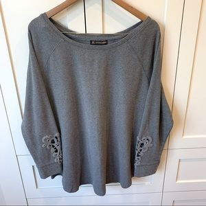 Love & Legend Sweater with Crochet Lace Sleeves